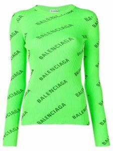 Balenciaga allover logo sweater - Green