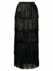 Caban Romantic long fringed tiered skirt - Black