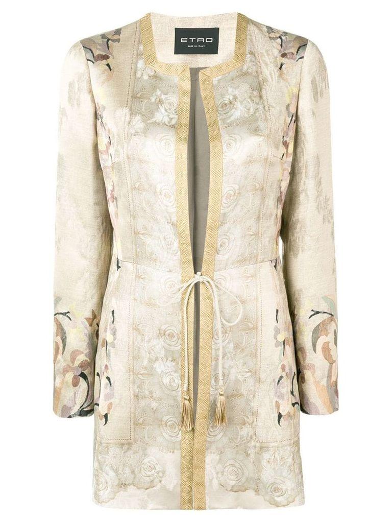 Etro tie waist coat - Neutrals