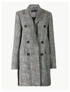 M&S Collection Checked Double Breasted Blazer with Linen