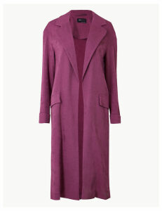 M&S Collection Textured Longline Open Front Duster Coat
