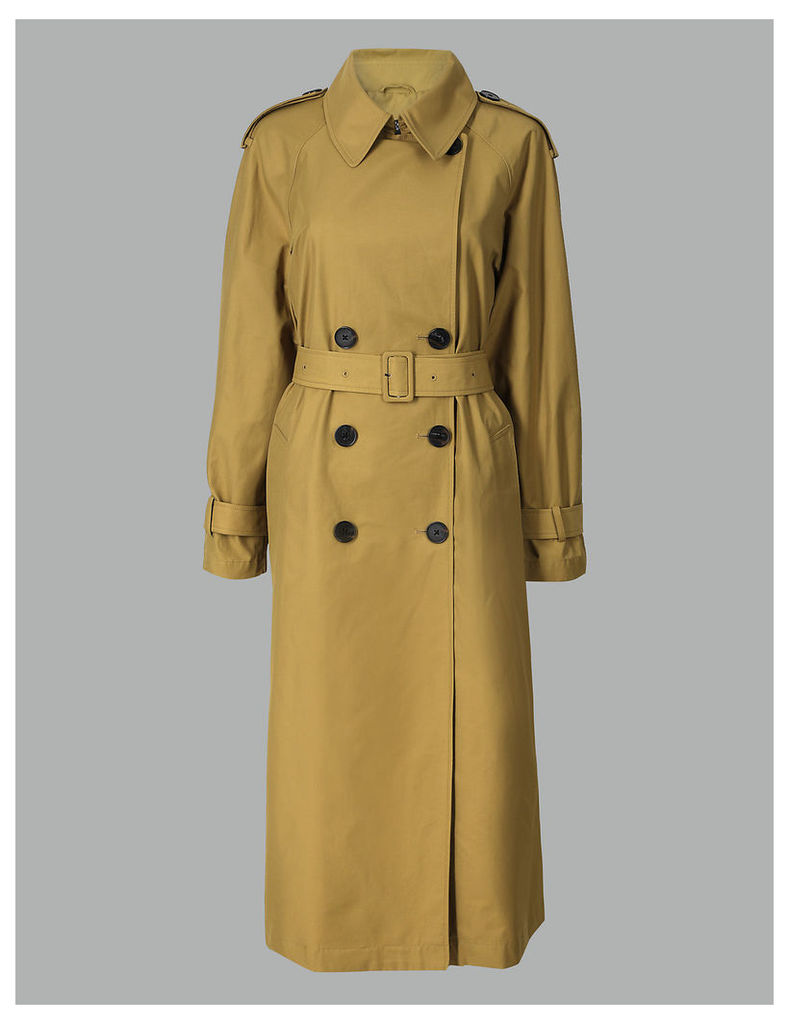 Autograph Cotton Rich Double Breasted Trench Coat
