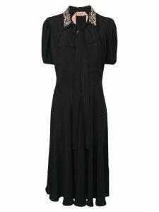 Nº21 rhinestone collar midi dress - Black