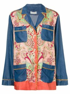 Etro paisley denim panelled blazer - Blue