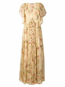 Alberta Ferretti floral print long dress - Neutrals