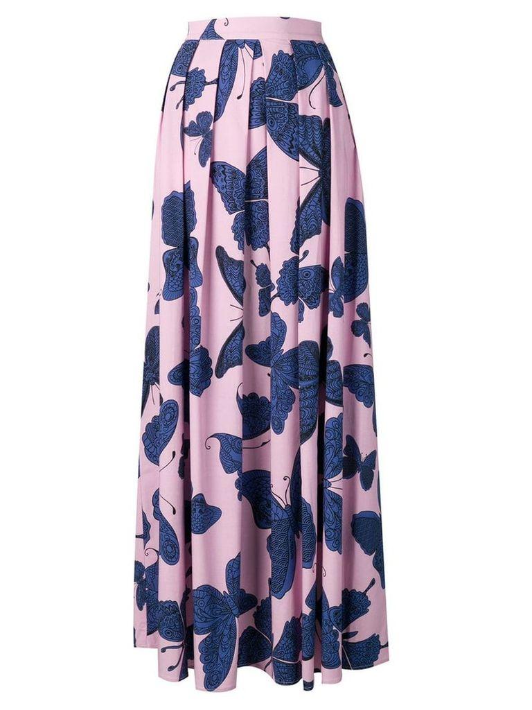 Ultràchic Butterfly print pleated maxi skirt - Pink
