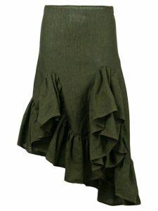 Marques'Almeida asymmetric ruffle skirt - Green