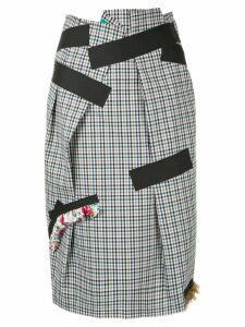 Kolor plaid tape skirt - White