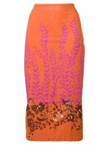 Fendi printed pencil skirt - Orange