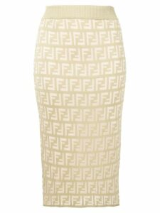 Fendi FF pattern midi skirt - Green