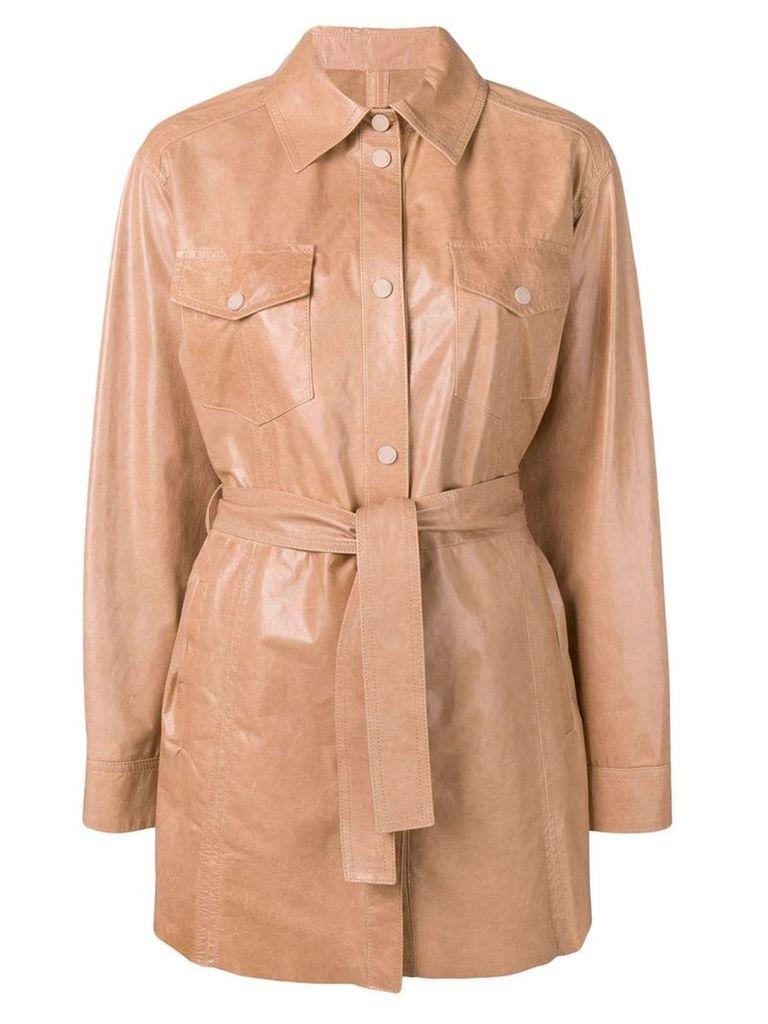 Drome classic leather coat - Neutrals