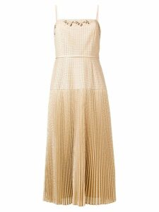 Fendi perforated pleated dress - Neutrals