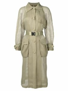 Fendi perforated belted trench coat - Green