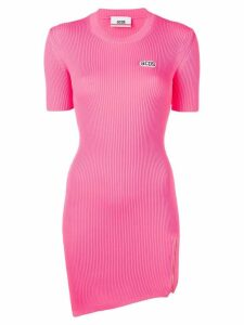 Gcds asymmetric knitted short dress - Pink