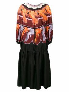 Fendi parrot print prairie dress - Red