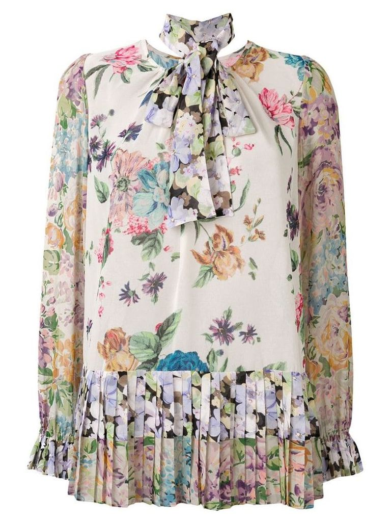 Zimmermann floral print pussy bow blouse - Neutrals