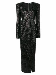 Balmain sequin wrap maxi dress - Black