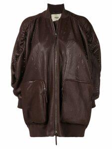 Fendi perforated leather bomber jacket - Purple