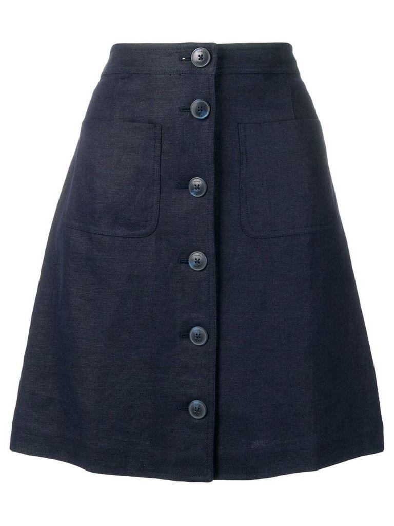 Tory Burch buttoned a-line skirt - Blue