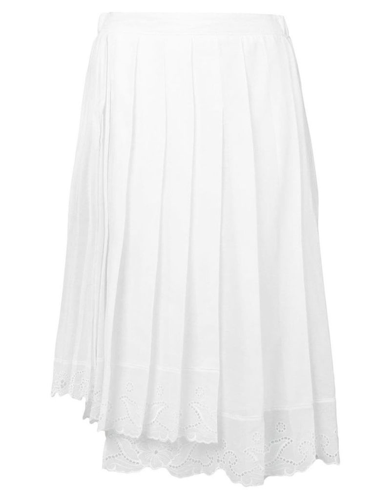 Nº21 lace trim pleated skirt - White