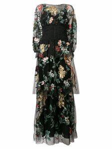 Fendi floral bird tulle embroidered dress - Black