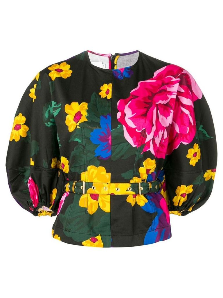 Marques'Almeida floral curved-sleeve sweatshirt - Black