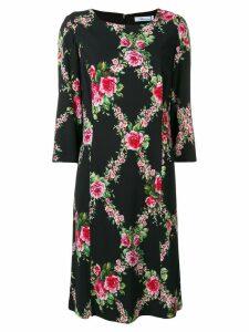 Blumarine rose check midi dress - Black