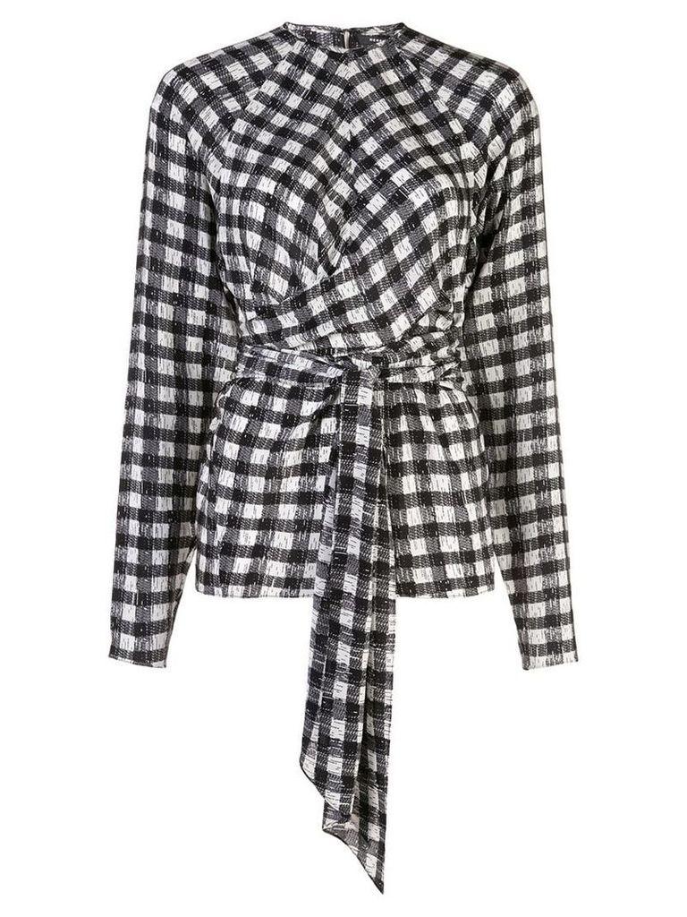Derek Lam Long Sleeve Plaid Print Blouse with Waist Tie Detail - White