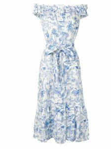 Tory Burch jungle print off shoulder dress - White