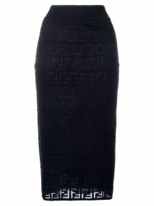 Fendi FF pattern midi skirt - Blue