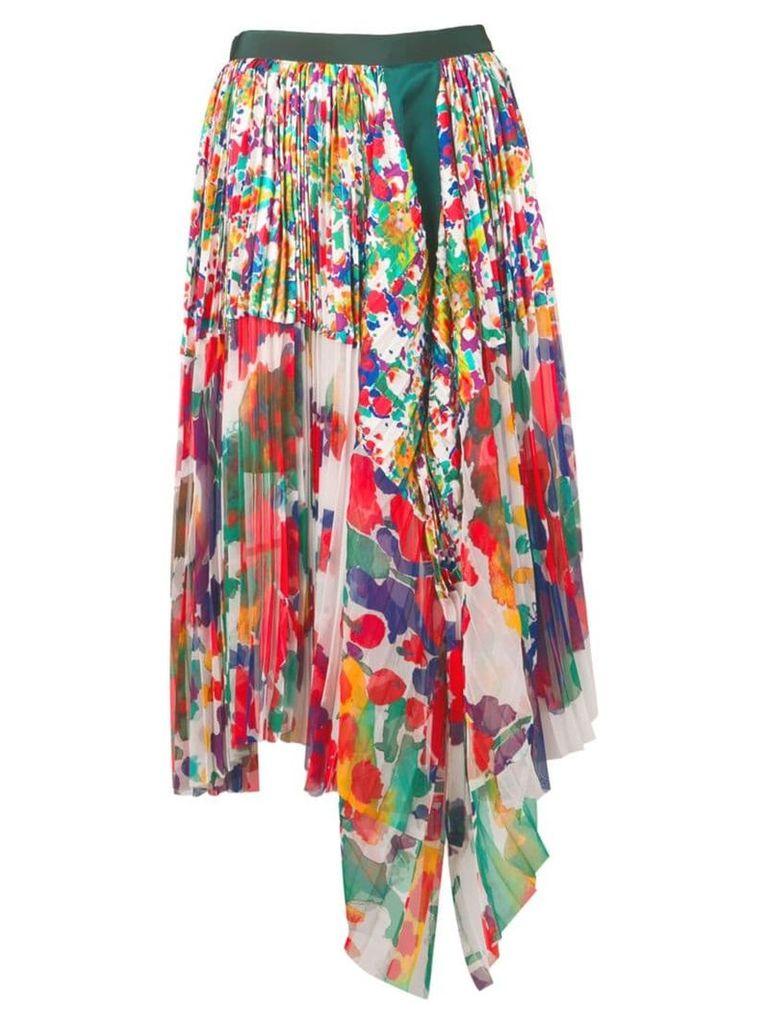 Sacai asymmetric pleated skirt - White