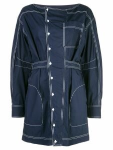 Derek Lam 10 Crosby Long Sleeve Shirtdress with Center Placket - Blue