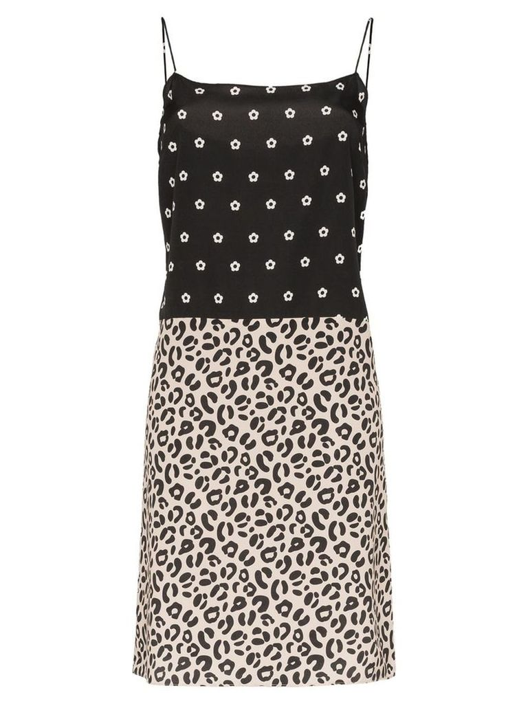 Sandy Liang Lara polka dot leopard print dress - Black