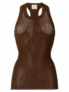 Erika Cavallini knitted mesh top - Brown