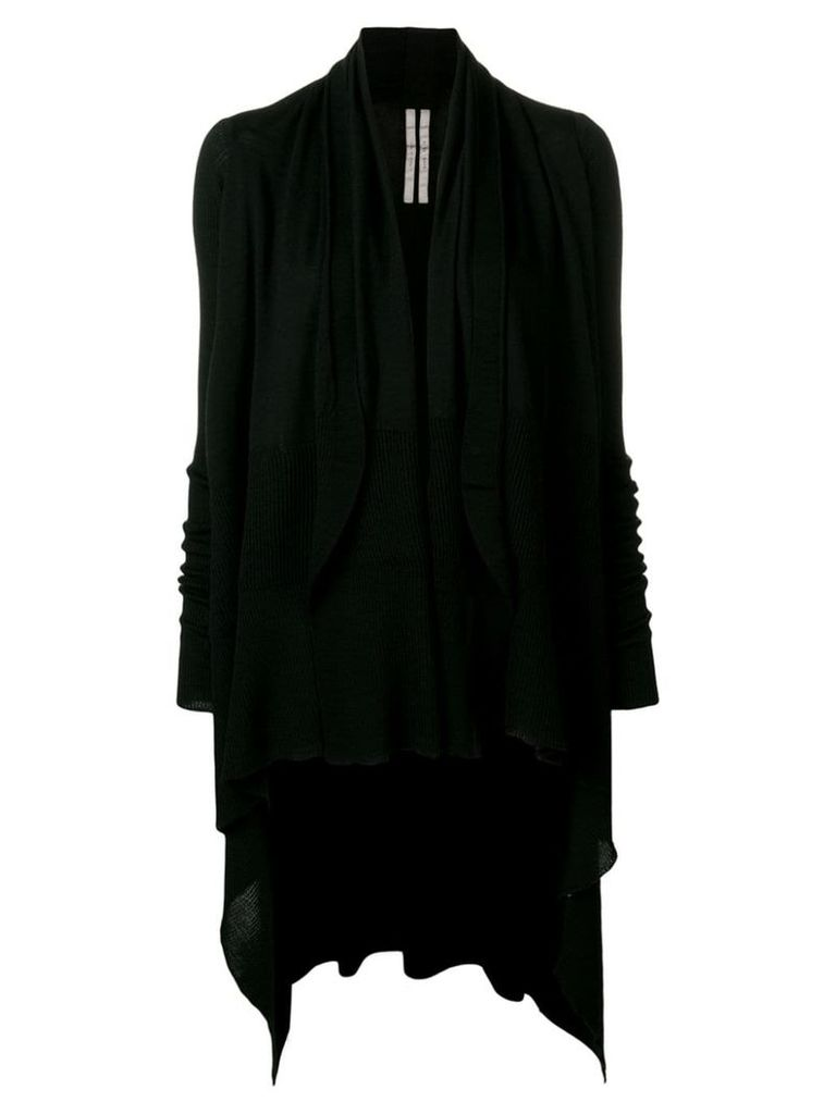 Rick Owens asymmetric hem cardigan - Black