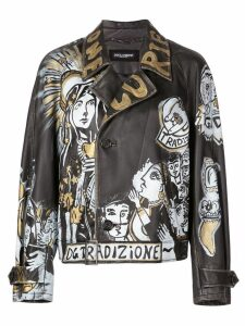 Dolce & Gabbana graffiti leather jacket - Black