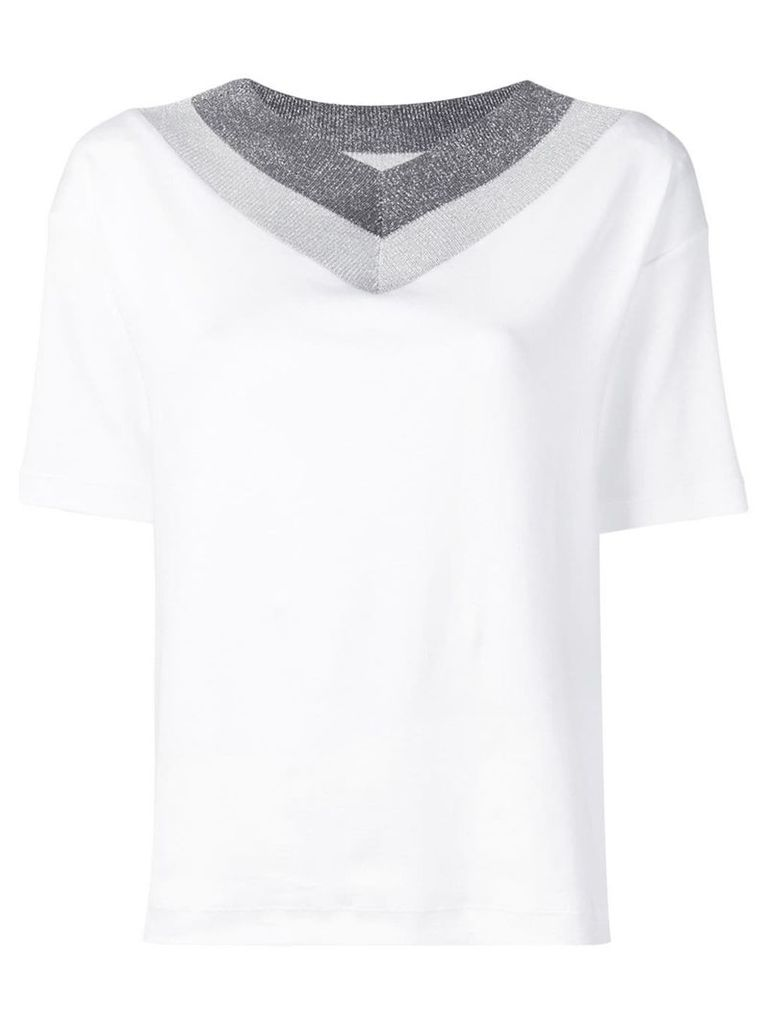 Fabiana Filippi sparkly V-neck sweater - White