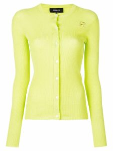 Rochas embroidered logo ribbed cardigan - Green