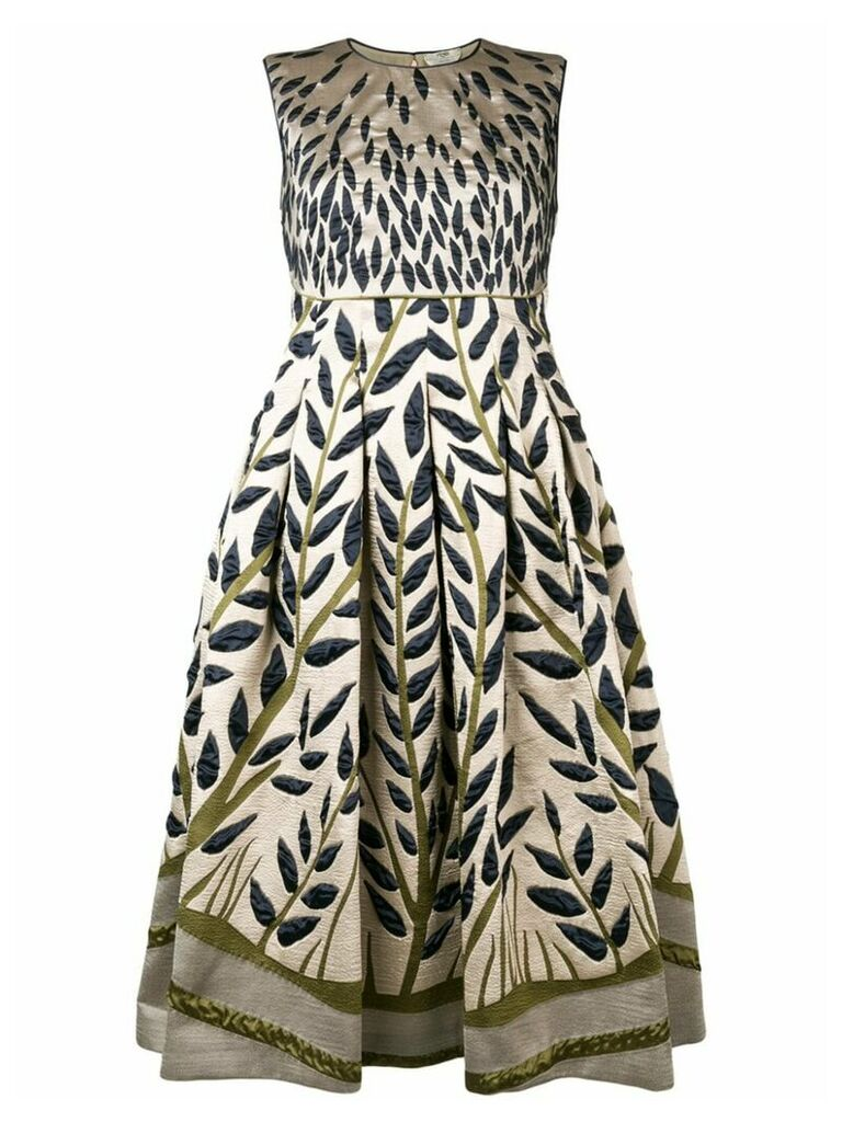Fendi leaf embroidered midi dress - Neutrals