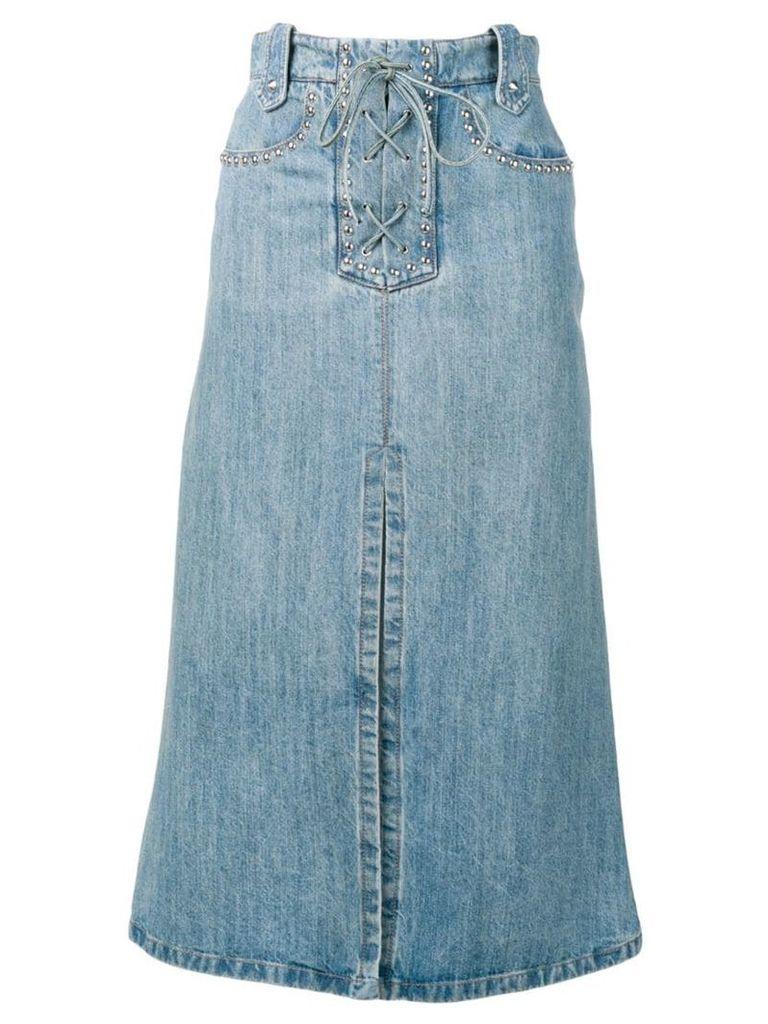 Miu Miu lace-up denim skirt - Blue
