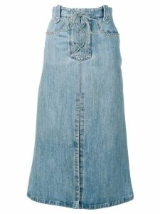 Miu Miu lace-up denim skirt - Blue