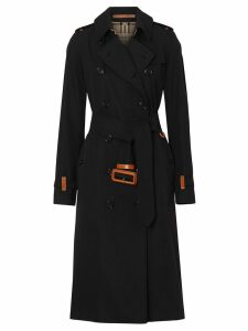 Burberry Leather Detail Cotton Gabardine Trench Coat - Black