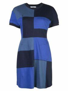 Derek Lam 10 Crosby Short Sleeve Patchwork T-Shirt Dress - Blue