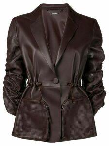 Fendi perforated ruched sleeve leather jacket - Purple