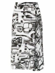 Tufi Duek printed draped skirt - White