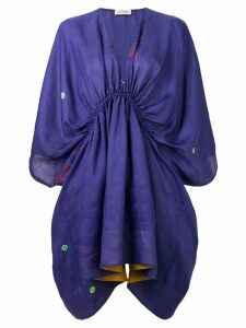 Gentry Portofino embroidered mini kaftan dress - Purple
