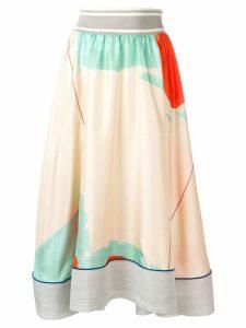 Rohka abstract print drape skirt - Neutrals