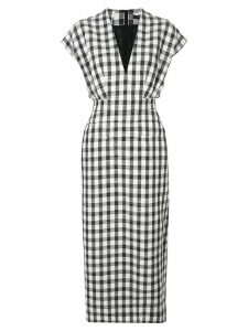 Derek Lam Sleeveless Plaid V-Neck Dress with Tapered Skirt - Black