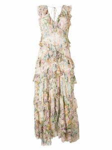 Zimmermann floral print ruffle dress - Neutrals