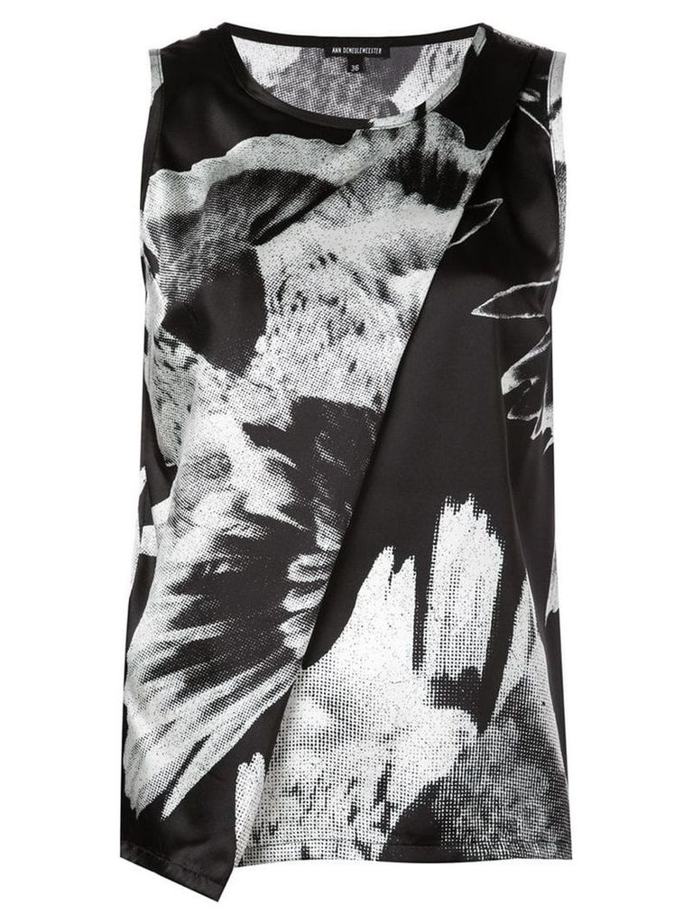 Ann Demeulemeester abstract print wrap vest - Black